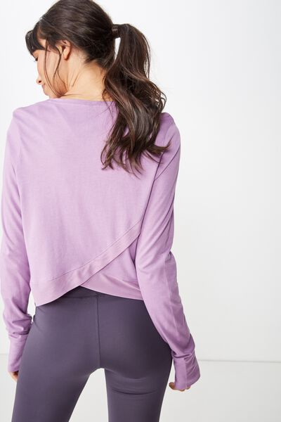 Cross Back Long Sleeve Top, PURPLE DOVE