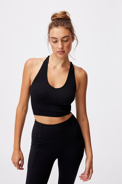Lifestyle Seamless Halter Racer Back Tank, BLACK