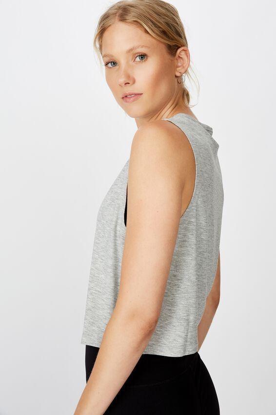 Cropped Active Muscle Tank, GREY MARLE