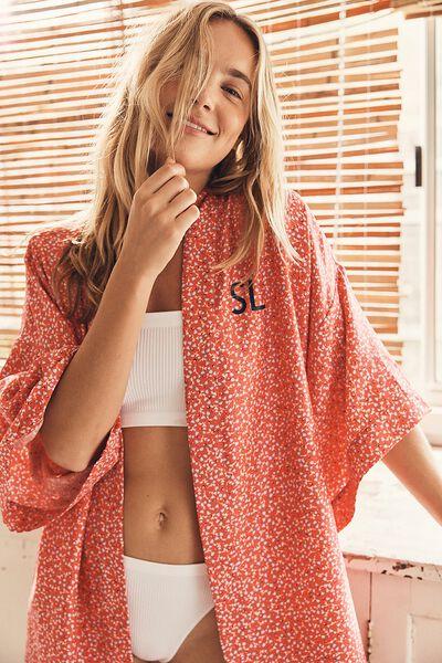 Personalisation Satin Kimono Gown, TULIP DITSY