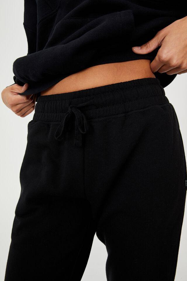 Lifestyle Cropped Gym Track Pants, BLACK