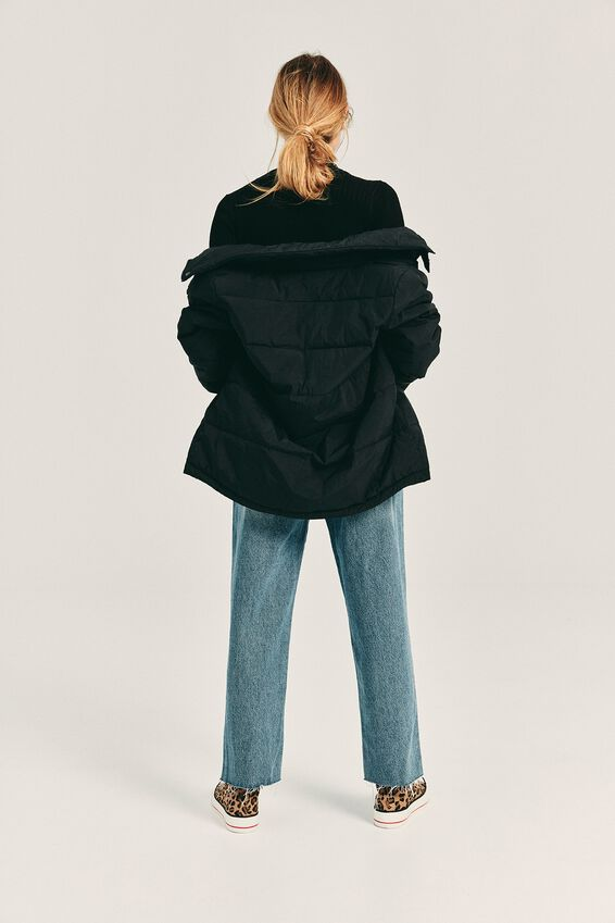 The Mother Puffer Jacket, BLACK