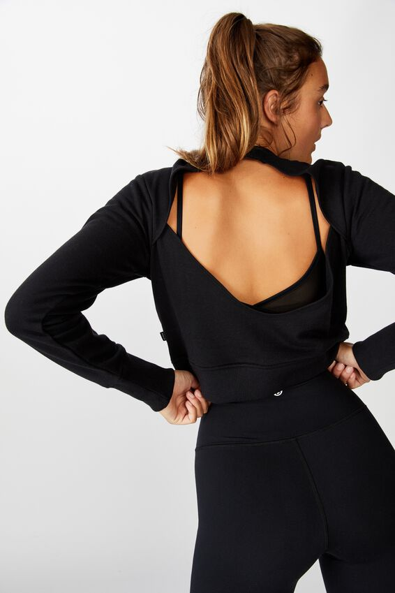 Open Back Fleece Crew Top, BLACK