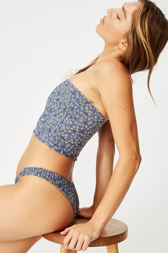 Shirred Longline Bandeau Bikini Top, BLUE DITSY SHIRRED
