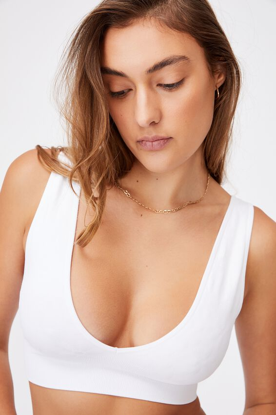Seamfree Reversible Crop With Cups, WHITE DAISY JACQUARD