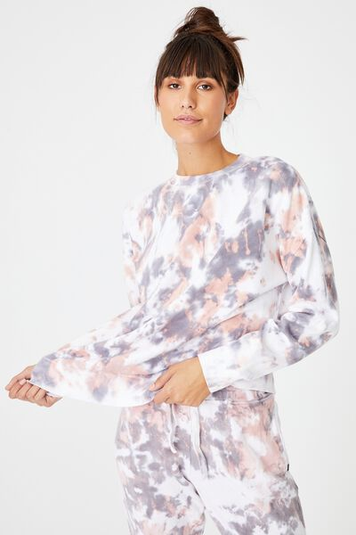 Lifestyle Long Sleeve Crew Top, WASHED APRICOT TIE DYE