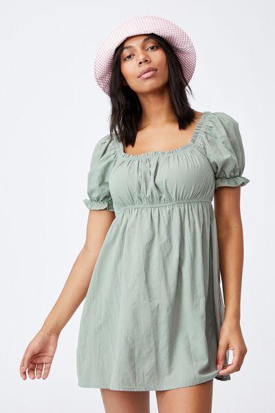 Puff Sleeve Beach Dress, KHAKI