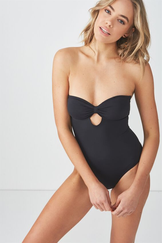 Clara Cut Out One Piece Cheeky, BLACK