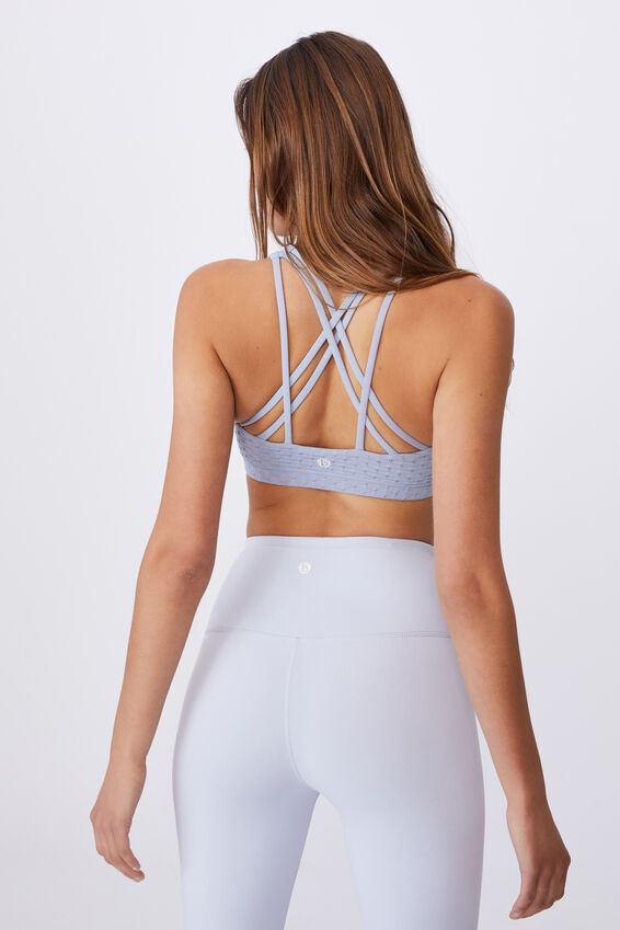 Strappy Sports Crop, BALTIC BLUE TEXTURE