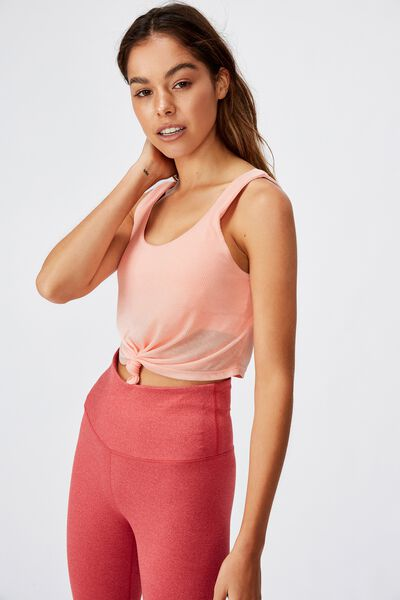 Tie Up Crop Tank, SOFT CAMEO PINK MARLE