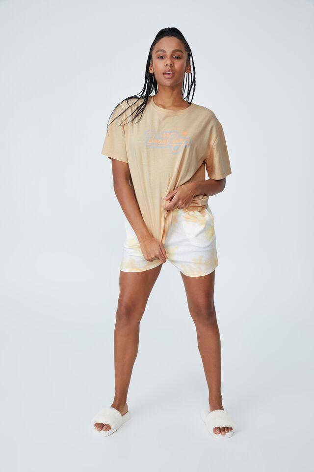 Jersey Relaxed Bed T-Shirt, LCN BR BEACH BOYS/RETRO PALM BONE