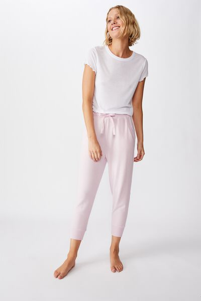 Supersoft Cropped Slim Fit Pant, LILAC SNOW MARLE
