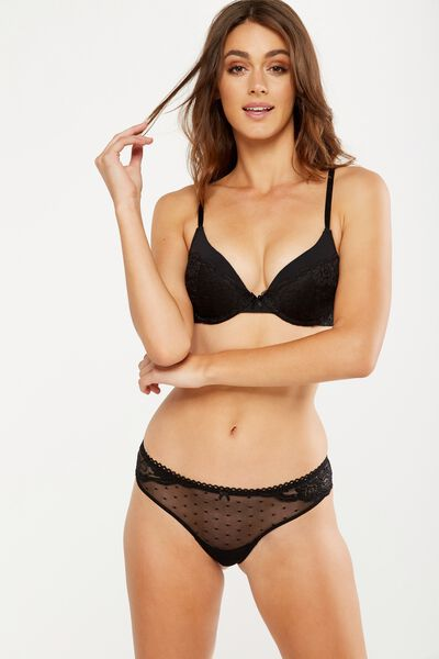 Lauren Push Up Bra With Removable Up 2, BLACK