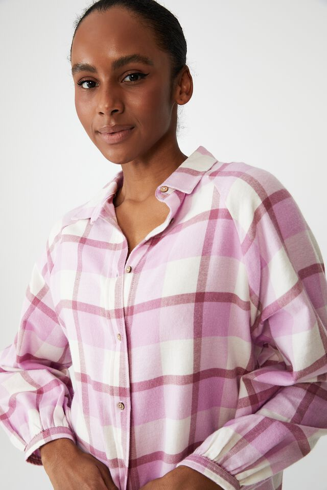 Warm Flannel Sleep Shirt Nightie, FIELD CHECK BLOOM