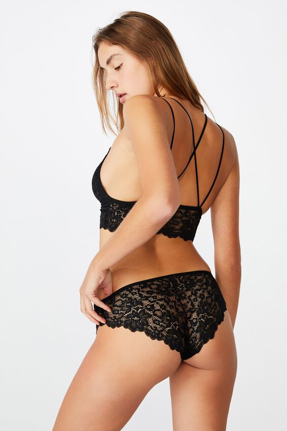 Ivy Lace Bikini Brief, BLACK