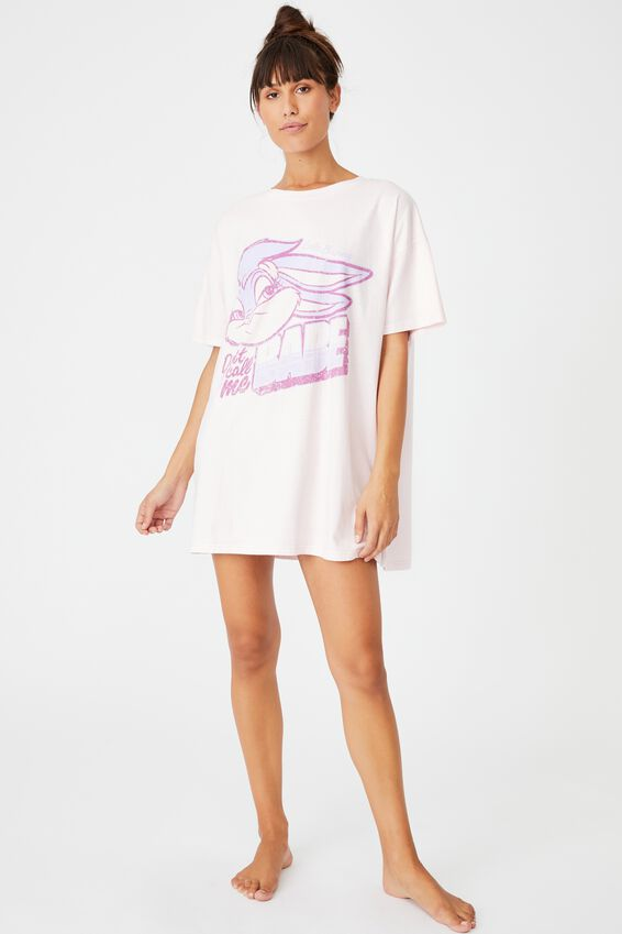Organic Cotton 90S T-Shirt Nightie, LCN WB LOLA BUNNY/PRETTY PINK
