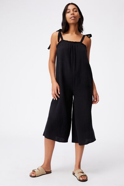 3/4 Length Beach Jumpsuit, BLACK