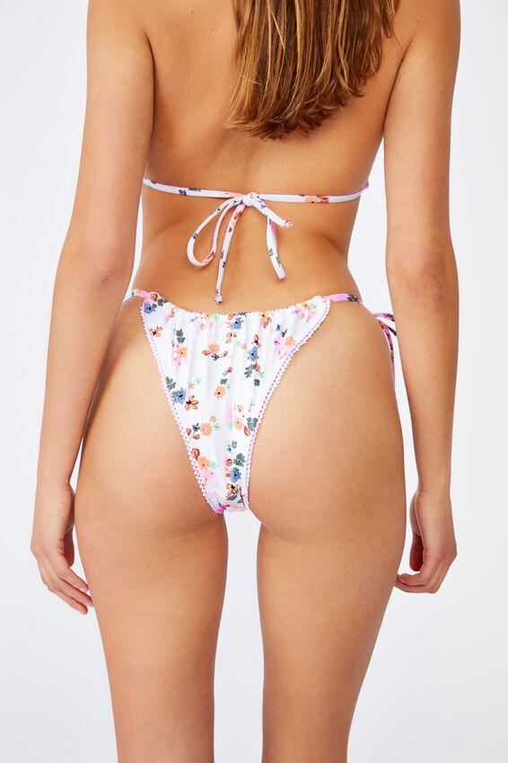 Gathered Tie Brazilian Bikini Bottom, WHITE DITSY/TRIM