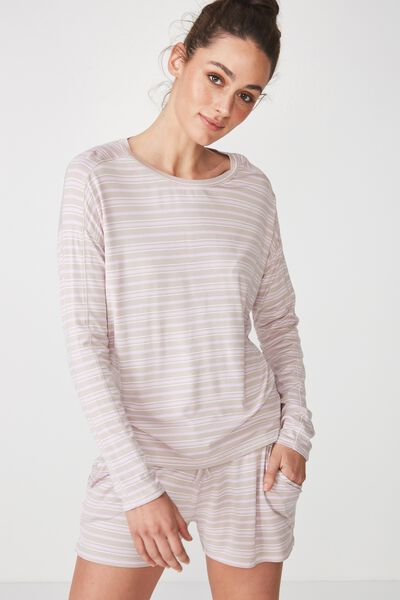 Sleep Recovery Long Sleeve Top, PASTEL LILAC/STRIPE