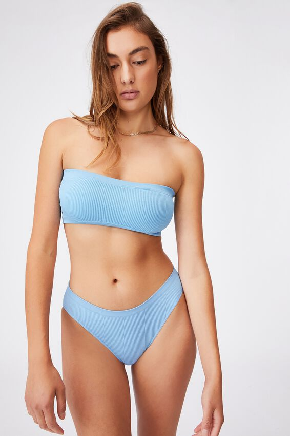 Seamfree Rib Bandeau With Cups, GLACIER BLUE