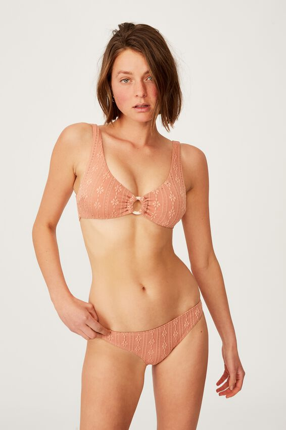 High Apex Ring Front Bikini Top, TERRACOTTA BROIDERIE