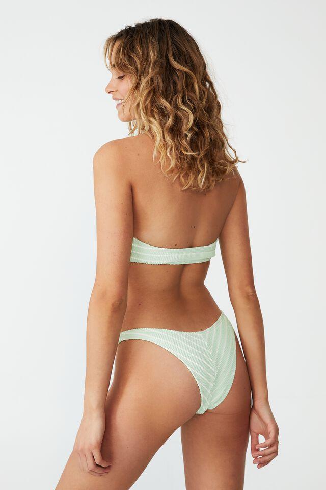 High Side Brazilian Seam Bikini Bottom, MINT CHIP STRIPE CRINKLE