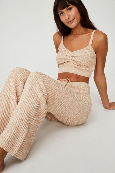 Organic Cotton Knit Lounge Pant, ALMOND BUTTER MARLE