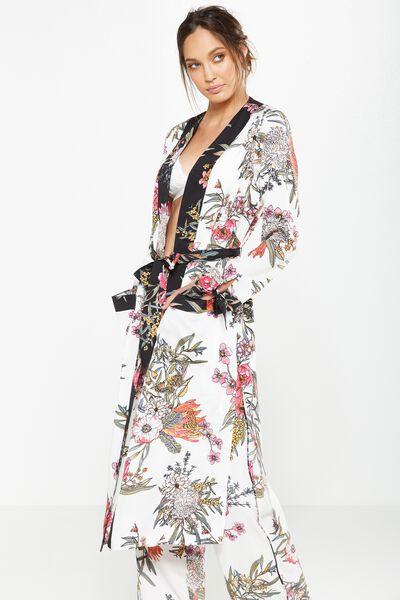 Long Kimono Gown, WHITE WILD FLOWER