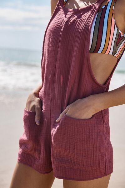 Tie Up Beach Playsuit, ROSE SANGRIA