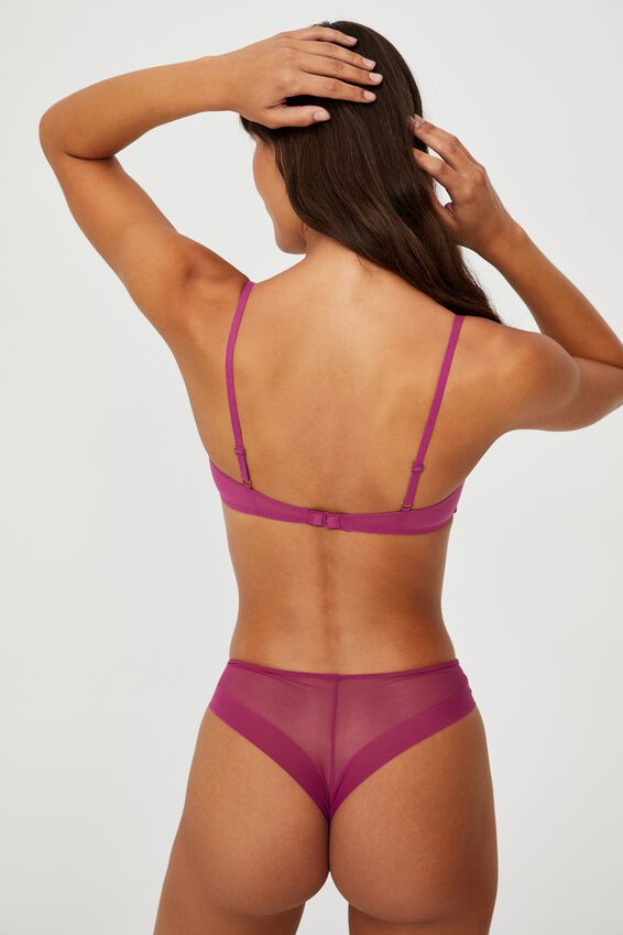 We Just Mesh Contrast Bralette, RASPBERRY ORCHID