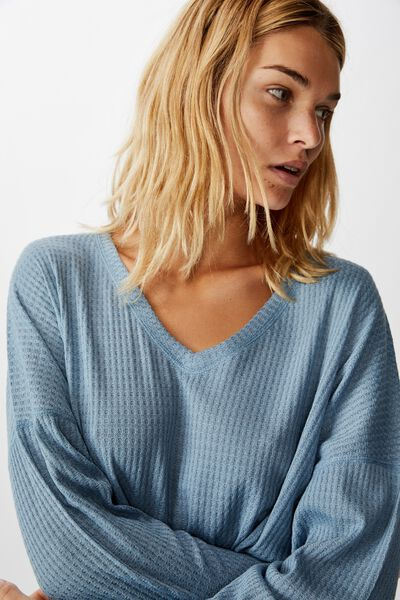 Soft Waffle Sleep Top, FADED DENIM