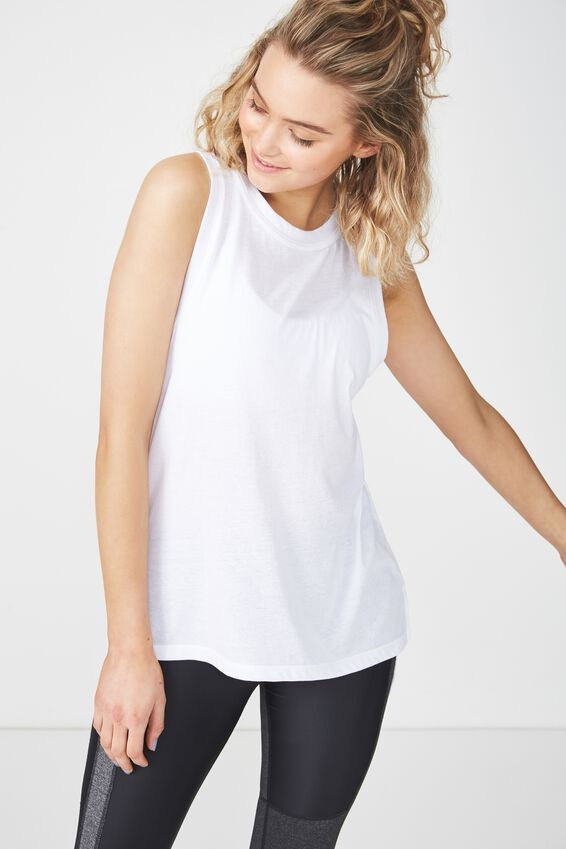 Jersey High Neck Tank Top, WHITE