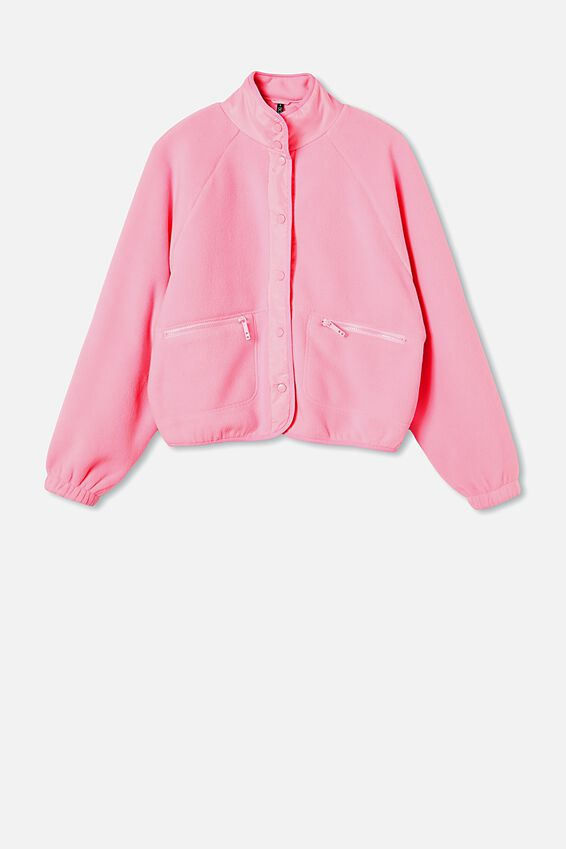 Warm Up Sherpa Jacket, PINK POP