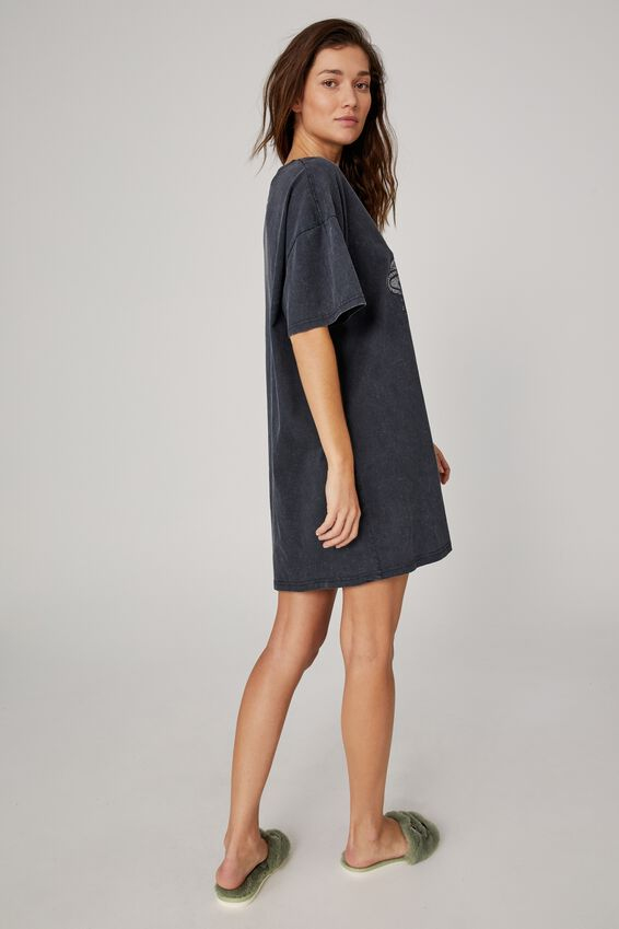 Organic Cotton 90S T-Shirt Nightie, LCN SES OSCAR THE GROUCH/WASHED BLACK