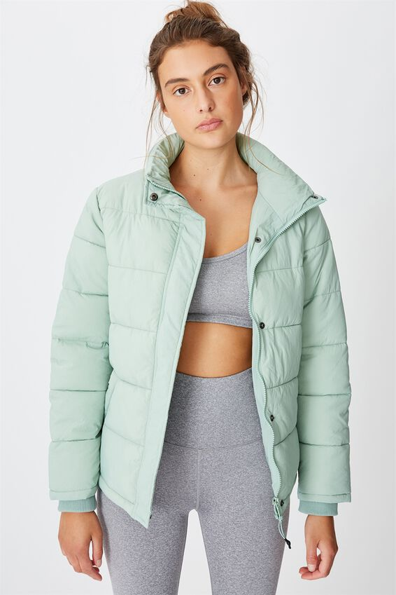 The Mother Puffer Jacket, WASHED ALOE