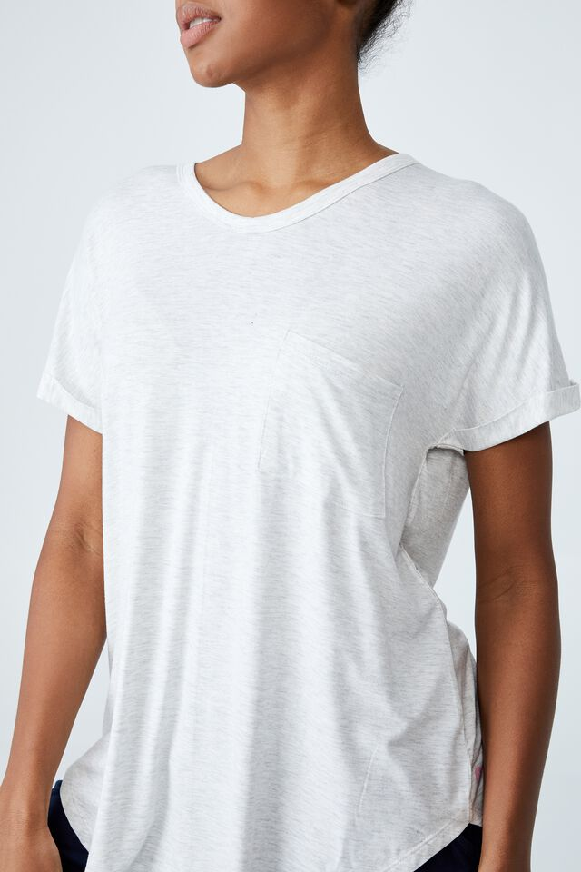 Sleep Recovery Pocket T-Shirt, SOFT GREY MARLE