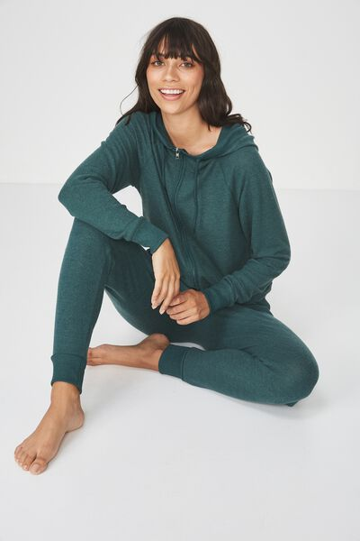 Super Soft Zip Raglan Hoodie, WINTER GREEN MARLE