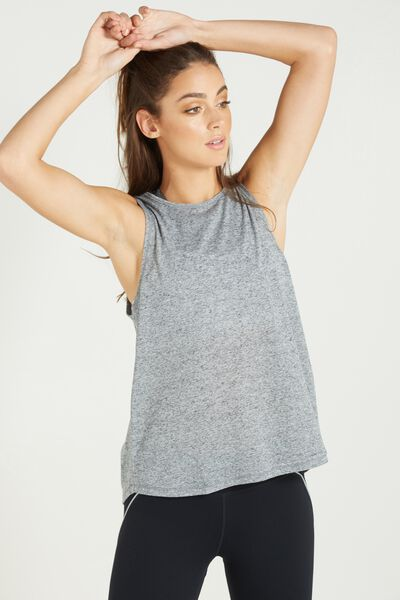 Strappy Back Tank Top, GREY MARLE SPECKLE