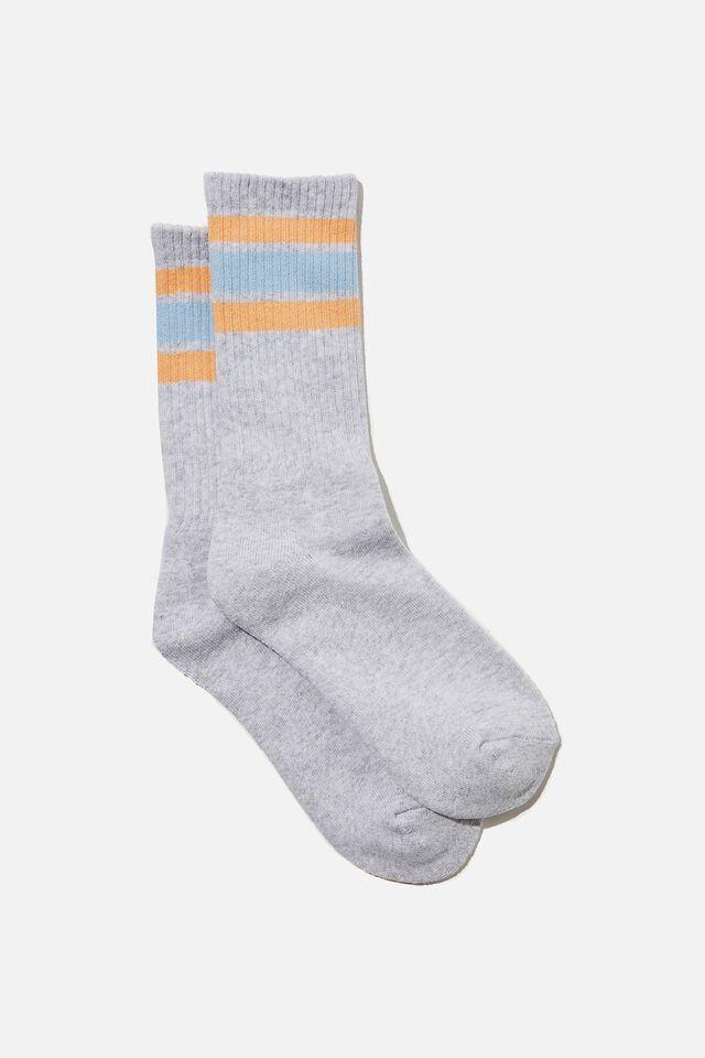Staycation Sock, GREY MARLE/STRIPE