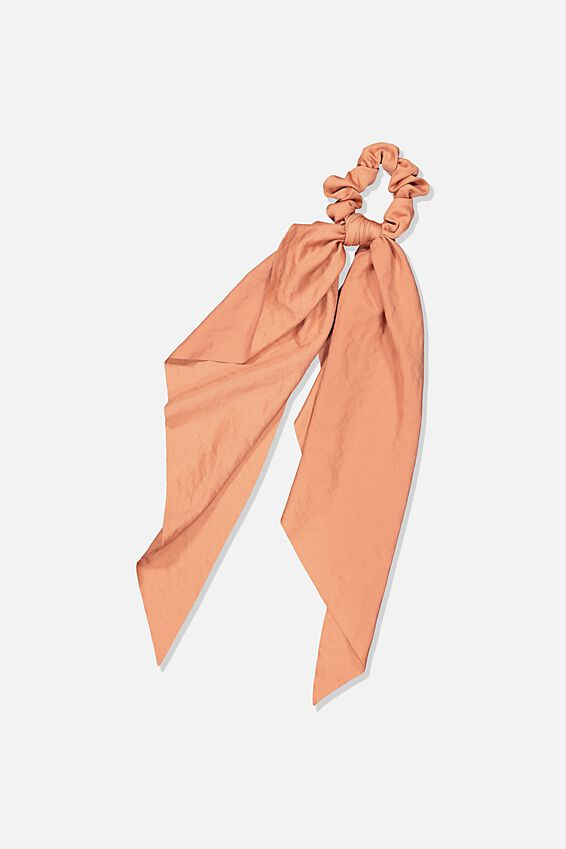 Beth Long Scarf Scrunchie, DUSTY PINK HAMMERED SATIN