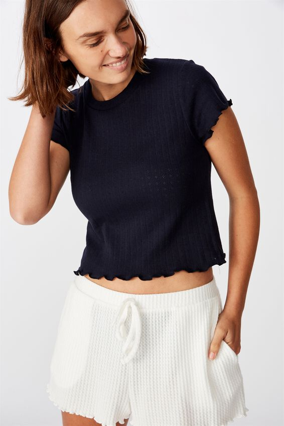 Pointelle Bed T Shirt, NAVY