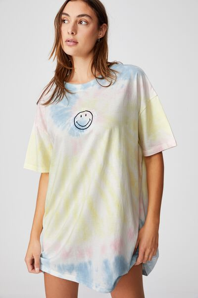 Organic Cotton 90S T-Shirt Nightie, LCN SMILEY JUST BE KIND