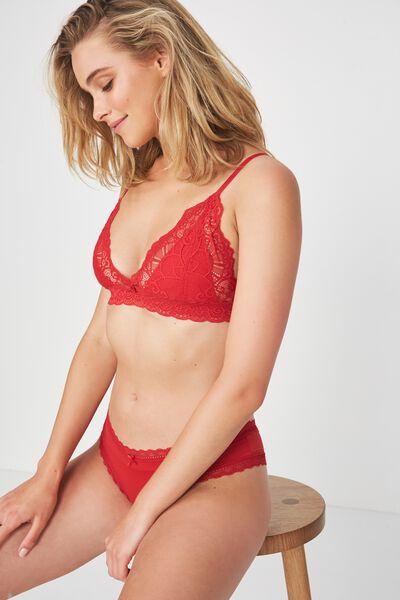Smooth Lace Trim Brasiliano Brief, TRUE RED