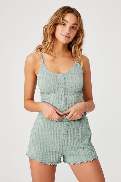 Knit Bed Tank, SMOKE GREEN