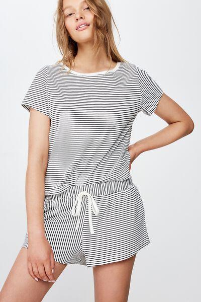 Jersey Bed Short, BLACK/ WHITE STRIPE