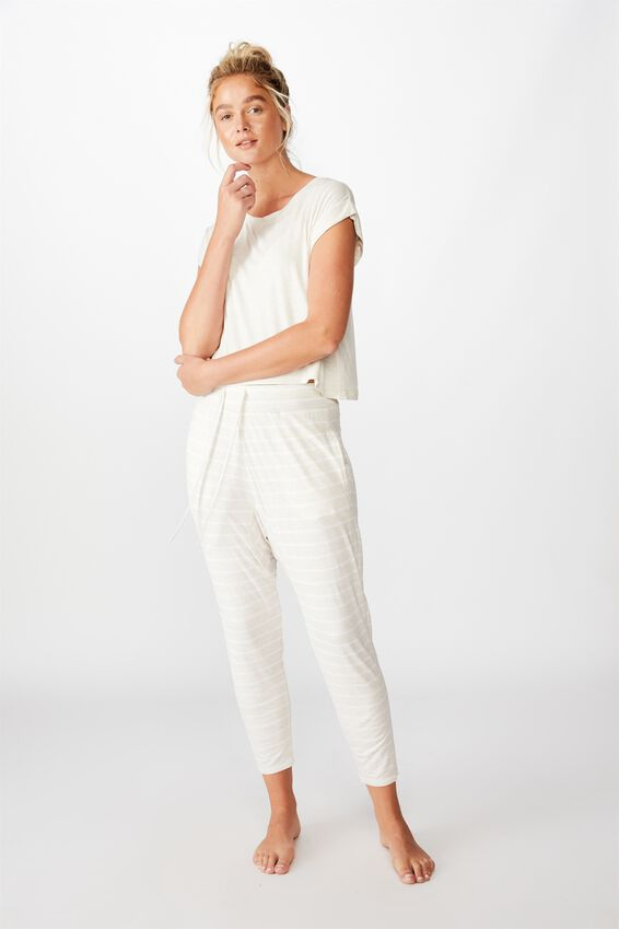 Sleep Recovery Drop Crotch Pant, PORRIDGE STRIPE