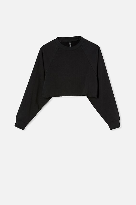 Lifestyle Crop Raglan Fleece, BLACK