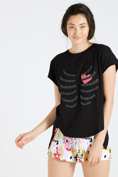 Match Back Short Sleeve Tie Top, BLACK/RIBS