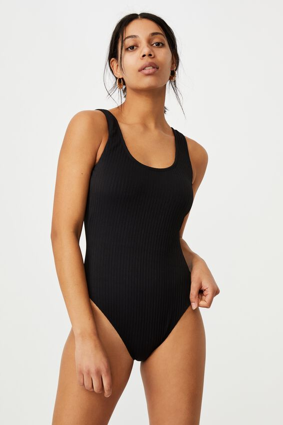 Wide Strap One Piece Cheeky, BLACK RIB 21