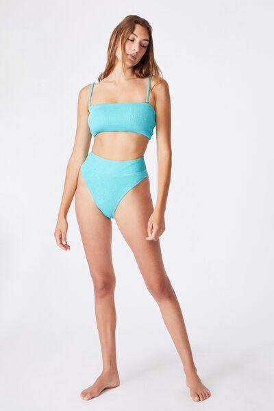 Highwaisted Cheeky Bikini Bottom Crinkle, TURQUOISE CRINKLE